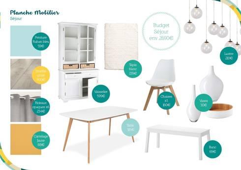 Planche mobilier style scandinave - Coin repas: Salon de style de style Scandinave par Angèle Ethuin - Designer d'intérieur & Coloriste