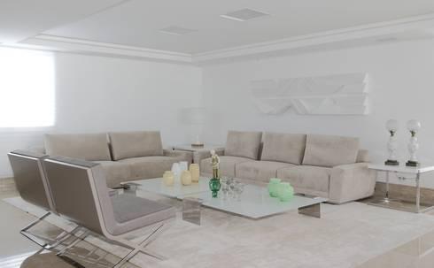 APARTAMENTO  CASA FORTE : Salas de estar modernas por ROMERO DUARTE & ARQUITETOS
