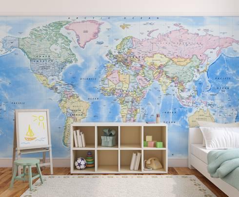 World Map Wallpaper By Love Maps On Ltd Homify - World map wallpaper for nursery