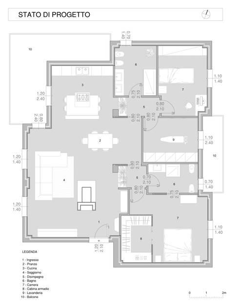 Casa C-P:  in stile  di QUADRASTUDIO