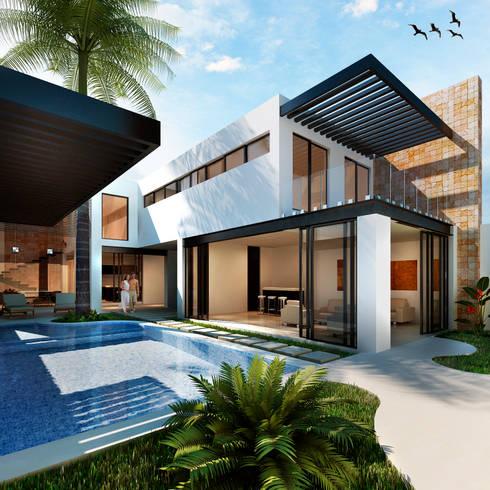Residencia Rodriguez: Casas de estilo moderno por Trazo Creativo