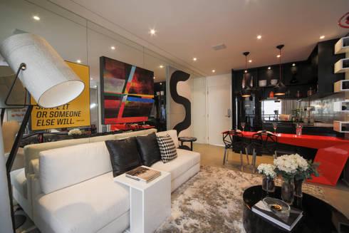 ONE_Pompéia: Salas de estar modernas por Chris Silveira & Arquitetos Associados