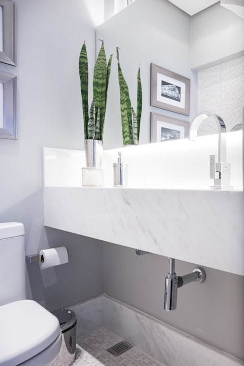 LAVABOS: Banheiros minimalistas por Pura!Arquitetura