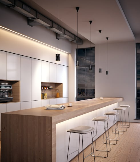 Solid Pendants in Nero Marquina marble:  Kitchen by Terence Woodgate