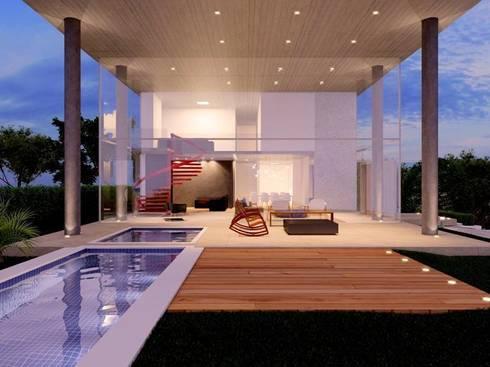 Casa EM: Terraços  por Aonze Arquitetura