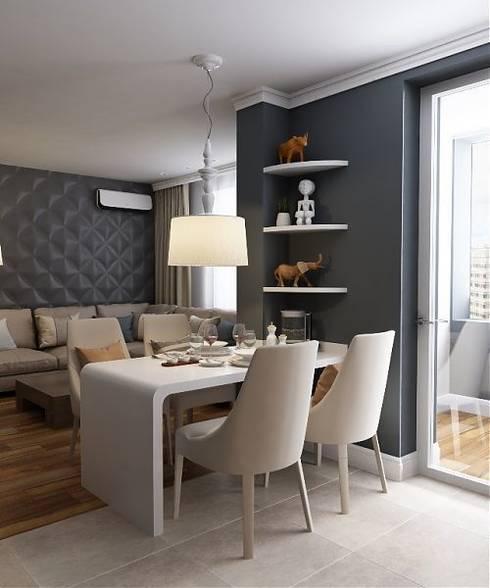 Дизайн в современном стиле 3к.кв: Гостиная в . Автор – MoRo