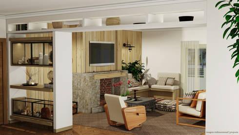 Projecto interiores e ambiente para Sala na casa rústica - Rustic house living room project and mood: Salas de estar rústicas por PreConceito
