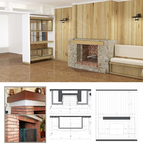 Projecto interiores e ambiente para Sala na casa rústica - Rustic house living room project and mood:   por PreConceito