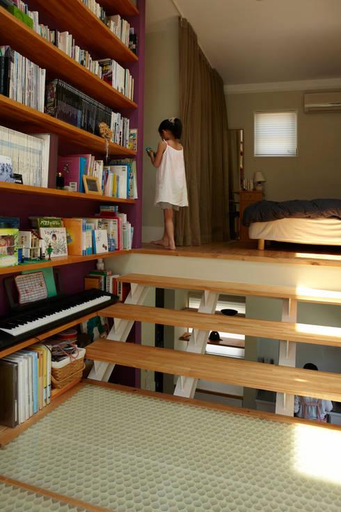 9坪ハウス+α: nido architects 古松原敦志一級建築士事務所が手掛けた寝室です。