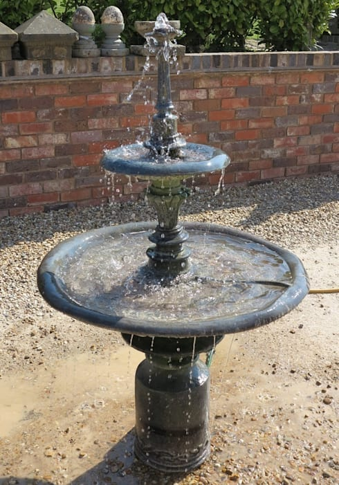 Antique Lead 2 Tier Water Fountain With Rose Detailing:  Garden  by UK Architectural Antiques