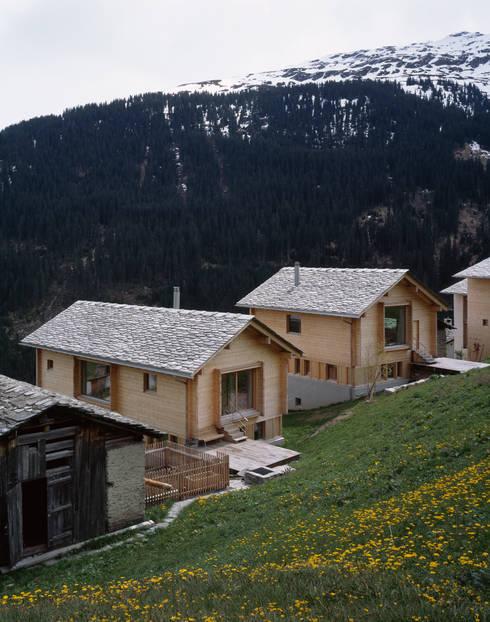 Zwei Häuser in Leis -Vals, CH :  Garten von Simona Pribeagu Schmid, dipl. Architektin AAM