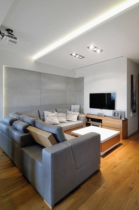 Beton udomowiony – czyli nowoczesne mieszkanie w Krakowie.: styl , w kategorii Salon zaprojektowany przez ARTEMA  PRACOWANIA ARCHITEKTURY  WNĘTRZ
