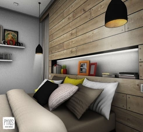 Détail de la tête de lit chambre de style de style moderne par pyxis home