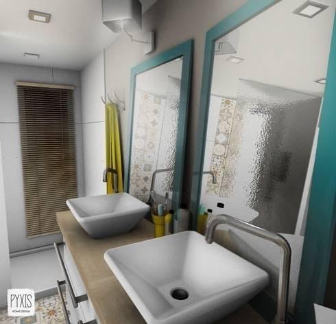 Double vasque de la salle des bain parentale salle de bains de style par pyxis