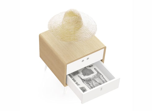 MARIA bedside table (drawer's inner coating in wallpaper): Casa  por DAM