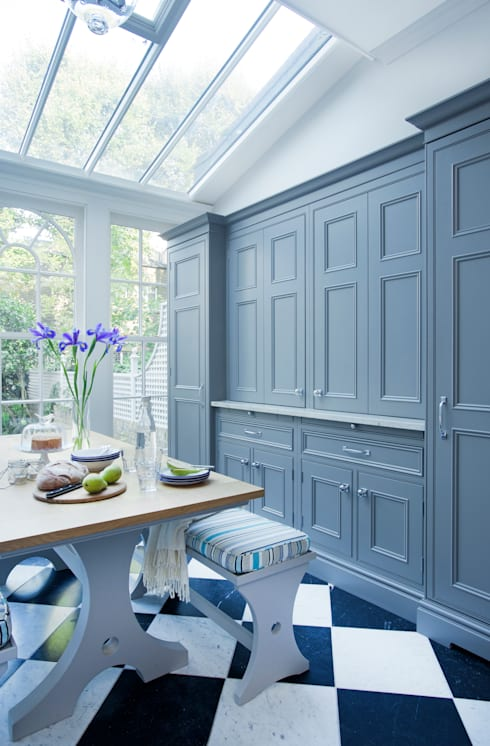 Dresser & Breakfast Table with Bench Seating.  Dresser painted in Downpipe by Farrow & Ball.:  Kitchen by Lewis Alderson