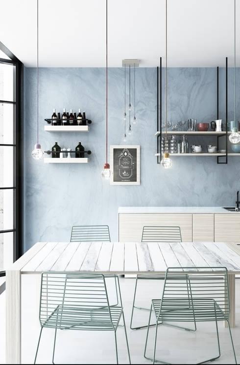 Cucina minimal con affaccio su patio: Cucina in stile in stile Moderno di GHINELLI ARCHITETTURA