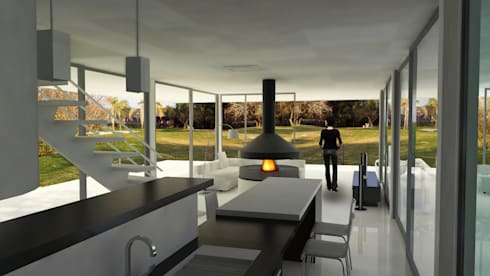 Casa RP – RESIDENCIA SUBURBANA: Cocinas de estilo moderno por D'ODORICO OFICINA DE ARQUITECTURA