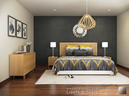 Recámara Principal: Recámaras de estilo moderno por Lights & Shades Studios