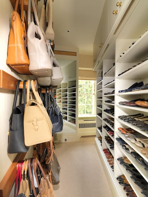 Walk in Closet with storage for Shoes and Handbags designed and made by Tim Wood:  Dressing room by Tim Wood Limited