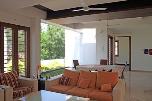 RESIDENCE FOR MRS. & MR. VASUKI RAJAGOPALAN: modern Living room by Muraliarchitects