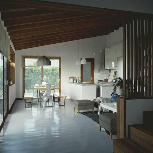 Casa CH-M: Comedores de estilo moderno por ARstudio
