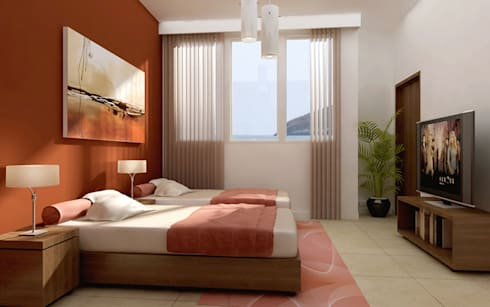 Renders interiores: Dormitorios de estilo moderno por Entretrazos