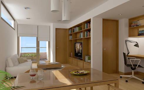 Renders interiores: Comedores de estilo moderno por Entretrazos