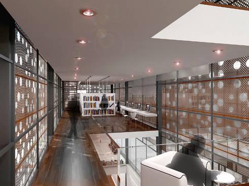 Renders interiores: Salas multimedia de estilo moderno por Entretrazos