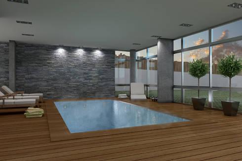 Renders interiores: Piletas de estilo moderno por Entretrazos
