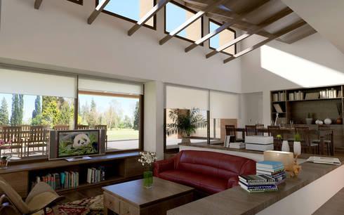 Renders interiores: Livings de estilo moderno por Entretrazos