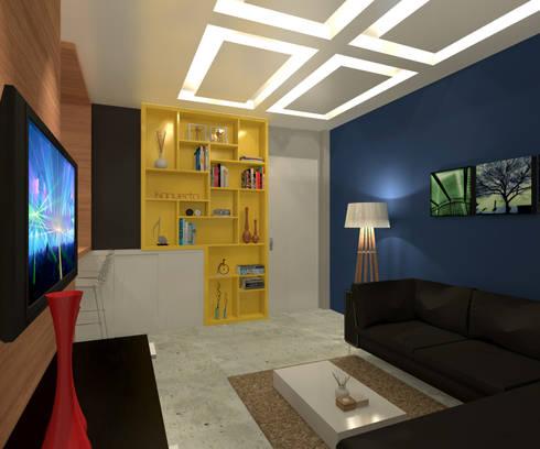 Residência 39m² Tijuca – RJ: Salas de estar modernas por Konverto Interiores + Arquitetura