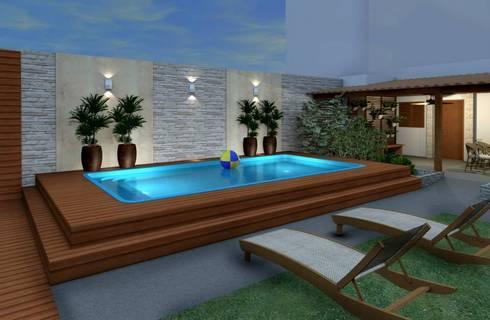 Espa o gourmet piscina e fachada resid ncia rj por for Patios modernos con piscina