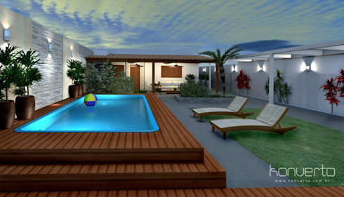 Espaço Gourmet, piscina e fachada - Residência RJ: Piscinas modernas por Konverto Interiores + Arquitetura