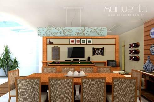 Espaço Gourmet, piscina e fachada – Residência RJ: Terraços  por Konverto Interiores + Arquitetura