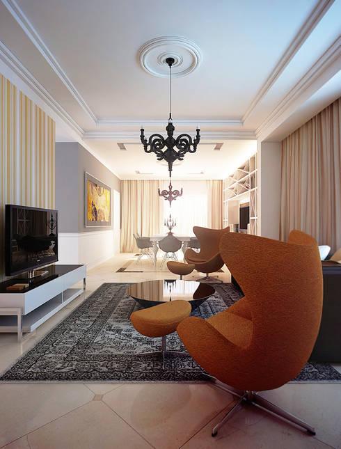 Salas de estilo ecléctico por KAPRANDESIGN