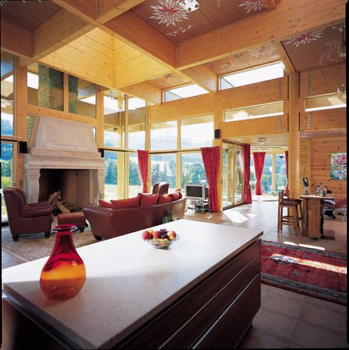 Salas / recibidores de estilo  por ELK Fertighaus GmbH