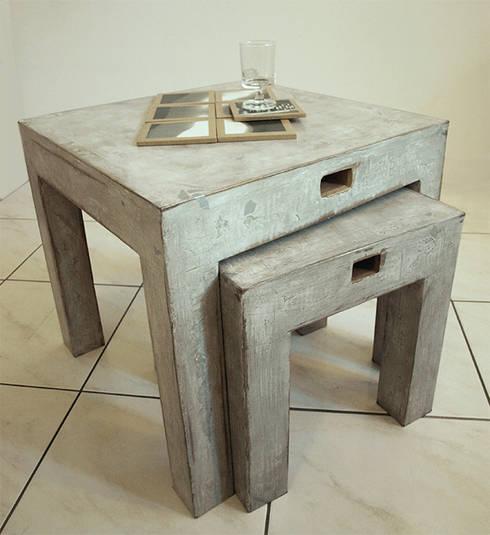 Tables basses gigognes par karton de breizh carton for Table basse vieilli