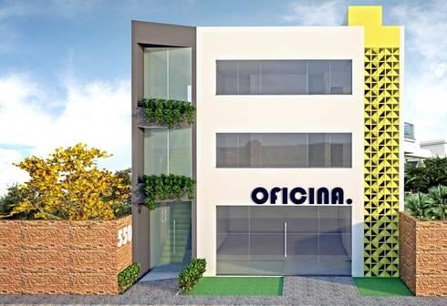 Fachada Ed. Oficina.: Espaços comerciais  por Impelizieri Arquitetura