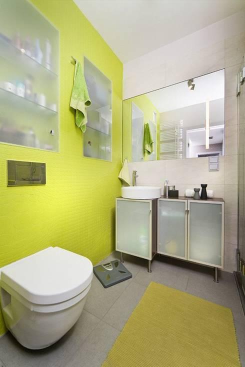 przytulne 40 m2: styl , w kategorii Łazienka zaprojektowany przez ZIZI STUDIO Magdalena Latos
