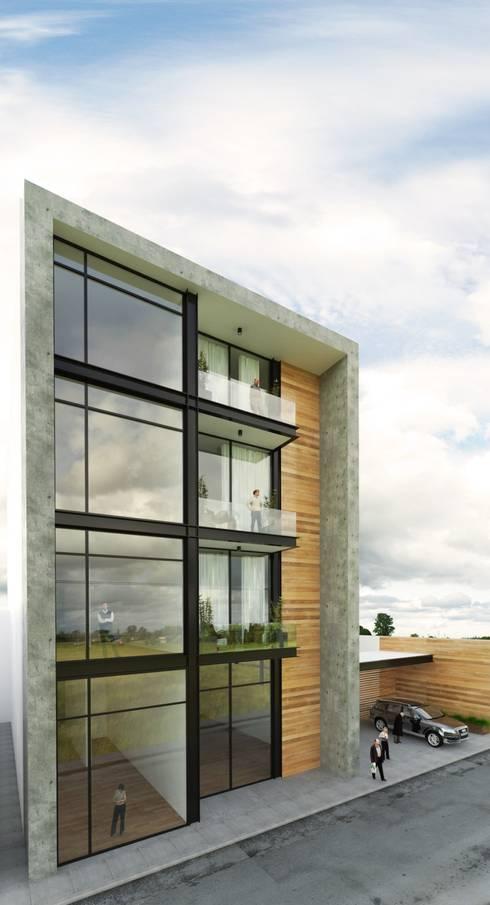 Fachada Principal: Casas de estilo moderno por Taller Habitat Arquitectos