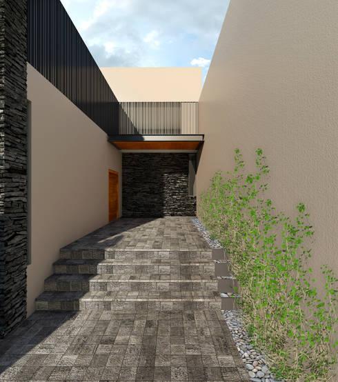 Casa EF: Pasillos y recibidores de estilo  por Taller Habitat Arquitectos