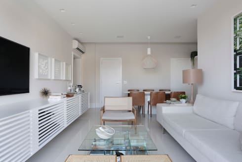 APARTAMENTO CAC: Salas de estar minimalistas por Yamagata Arquitetura