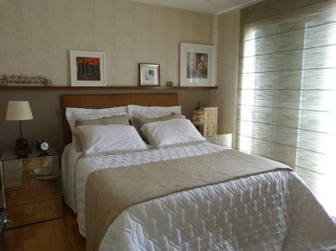 Produção Suite Master - residência em condomínio: Quarto  por E|F DESIGN.INTERIORES.PAISAGISMO