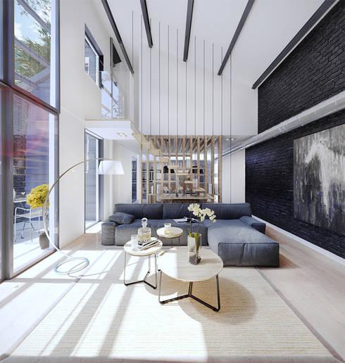 Labahou Une ancienne papeterie reconvertie en loft: Salon de style  par Planet Studio