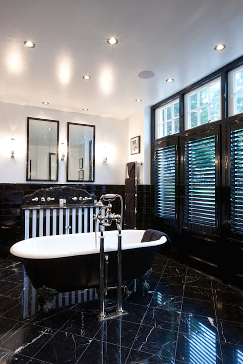 Nero Portofino Marble in a polished finish (designed by Sian Parry Jones).: classic Bathroom by Artisans of Devizes