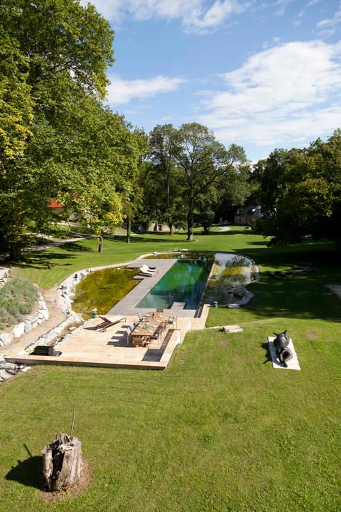 Freiraumgestaltung Schloss Merkenstein: klassischer Pool von t-hoch-n Architektur