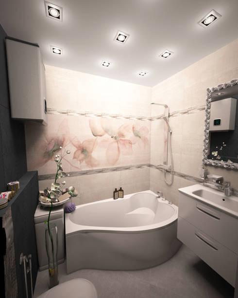 Квартира-студия для молодой девушки: Ванные комнаты в . Автор – Гурьянова Наталья