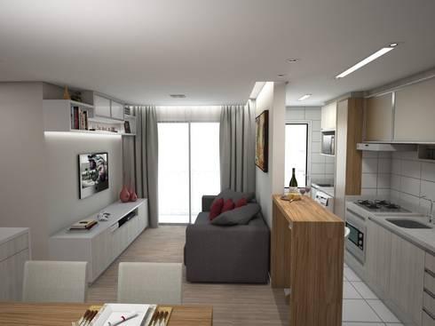 Projeto de Interiores Vila Fanny: Salas de estar modernas por Daarna Arquitetura & Interiores