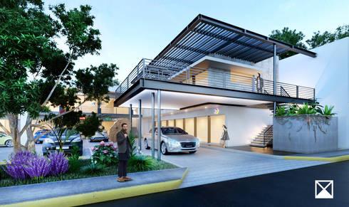 FACHADA SUR: Terrazas de estilo  por ANGOLO-grado arquitectónico